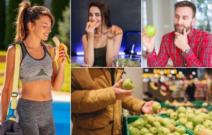 Vitamíny a minerální látky v jablku, hrušce, banánu, bobulích a peckovinách